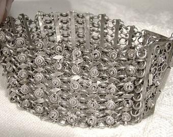 Indonesian Sterling Silver Loops Filigree Wide Statement Bracelet 1950