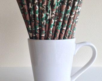 Camouflage Paper Straws Camo Party Supplies Party Decor Bar Cart Cake Pop Sticks Mason Jar Straws Graduation
