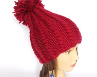 New tall hat for women - handknit hat - chunky knit hat - red hat 100% wool - warm winter hat - wool knit hat with pompom - dark red beanie