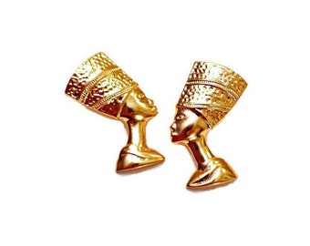 Gold Nefertiti Stud Earrings, Egyptian Jewelry, Royal Queen Statement Earrings, Ancient Jewelry, Queen Of Egypt Jewelry