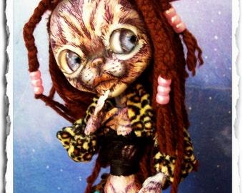 Cat Art Doll OOAK - Creepy Cute - Cat Doll - Kitty Cat - Feline