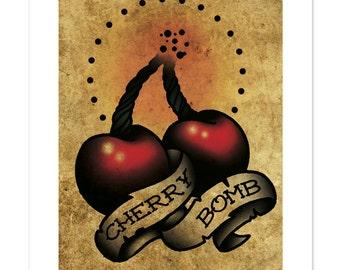 Cherry Bomb, Neo-Traditional Tattoo Flash, Art Print 12x16