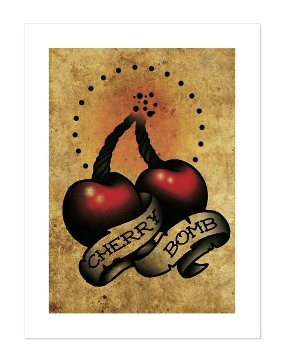 Cherry bomb neo traditional tattoo flash art print 12x16 for Cherry bomb tattoo parlor perth