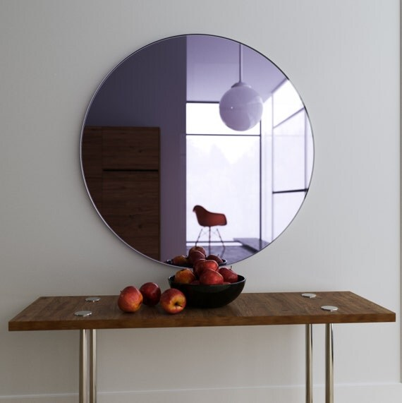 Purple wall mirror large hanging art deco mirror with for Hanging a large mirror