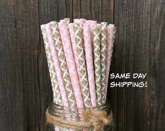 100 Gold and Pink Damask Paper Straws- Wedding, Bridal or Baby Shower, Birthday Supply