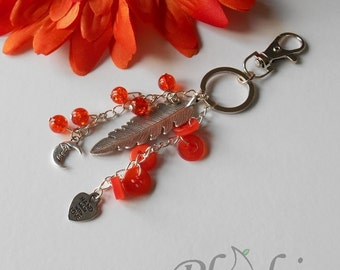 Orange Feather Keyring, Free as a Bird Bag Charm for Teenagers, Make a Wish Basket Idea, Moon and Sun Bag Charm Pendent, Gifts for Her
