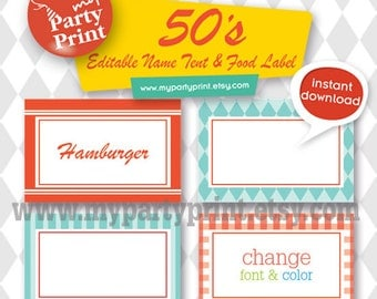 50s Party Printables Editable Name Tent / Place Card / Buffet Food Label / Table Tent Card  for your 1950's party - Instant Download