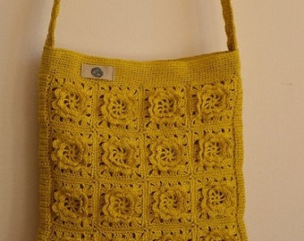 LINEN Crochet Cross Body Bag, Crochet Bag, Linen bag, Mustard Bag