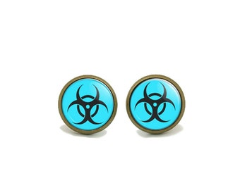 BioHazard Earrings 8 Color Choices..Zombie Apocalypse  Studs