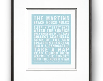 """Personalized """"Beach House Rules"""" Art Print in Blue"""