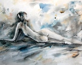 Woman Figure Watercolor Painting Art Print, Watercolour Nude Art