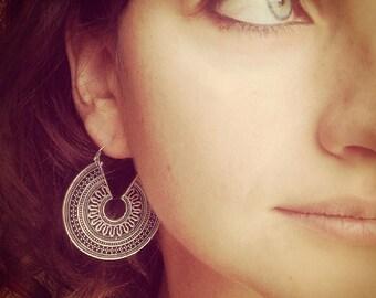 SALE Silver Coloured Earrings, Boho Earrings, Tribal Earrings, Hoop Earrings, Gipsy Earrings, Tribal Belly Dance Jewellery.
