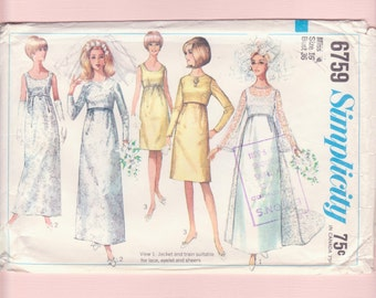 1960's Mod Empire Waist Wedding Dress Gown, Jacket/ Simplicity 6759 Scoop Neckline, overblouse, Evening Dress Sewing Pattern/ Size 14 16