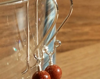 Artisan Goldstone beaded earrings on handmade sterling silver earwires