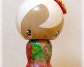 Japanese kokeshi-inspired doll decoration display note holder - fuyukko