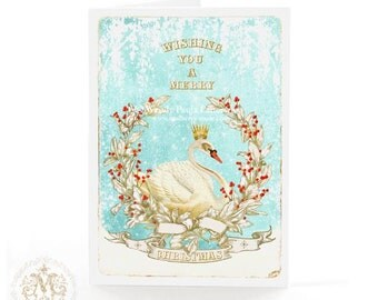 Swan card, Christmas Card, vintage wreath, red berries, white Christmas, 7th day of Christmas, gold crown, white swan, blue, holiday card