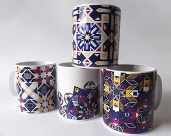 SALE: Set of 4 Bold Geometric Pattern Mugs / Patterned Mug Gift Set / Geometric Print Mugs / Tea Lover Gift / Coffee Lover Gift