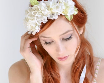 Bridal crown, vintage floral crown, romantic wedding crown, ivory flower crown, flower hair piece, wedding hair accessories - Heirloom