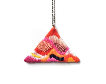 Hand embroidered Triangle Necklace / Black, Fuchsia, Salmon, Orange, Burgundy, Yellow  / Embroidered Geometric Pendant Statement Necklace