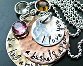 I Love You A Bushel and A Peck Necklace - Grandmothers Necklace - Mothers Necklace - Stacked Hammered Layers Necklace