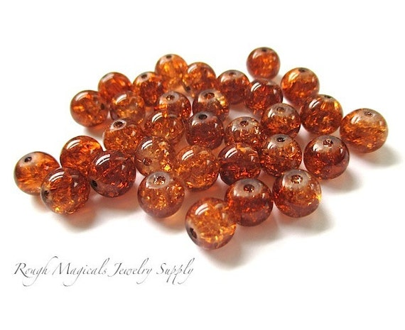 Crackle Glass Beads Honey Amber Brown - 8mm Rounds - 32 Pieces