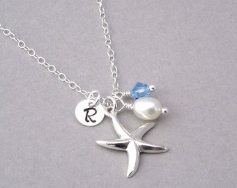 Starfish Necklace with Birthstone & Pearl Personalized Necklace, Sterling Silver, Silver Starfish Charm, Personalized Initial Necklace.