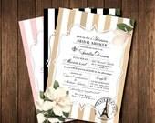 French Bridal Shower Invitations - Paris France - Black & White, Pink, Gold Striped Vintage Salon - Parisian Printed Invites with envelopes