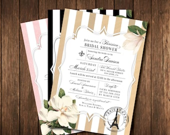 French Bridal Shower Invitations - Paris France - Black & White, Pink, Gold Striped Vintage Salon - Parisian Printed Invites with envelopes