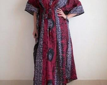 "Maternity hospital gown, Maternity dress, Indian caftan, Nursing night gown, summer dress, boho, maternity photo shoot dress(Red GB) 55"""