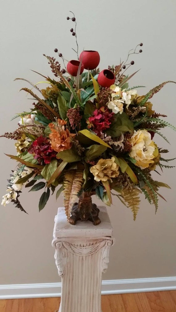 Large elegant traditional floral arrangement by for Foyer flower arrangement