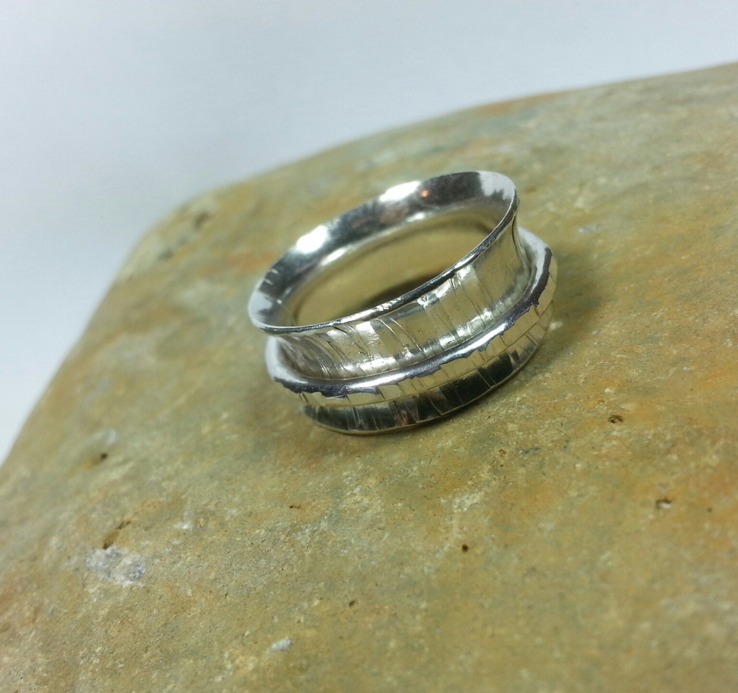sterling silver bark textured worry ring spinner ring
