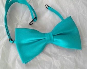 Turquoise silk wedding bowtie groom groomsmen christening prom formal pretied bow tie
