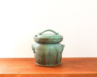 Made to Order ** One gallon ceramic fermentation crock in Mineral Green with Robin's Egg. Pickling, sauerkraut, wheel thrown pottery.