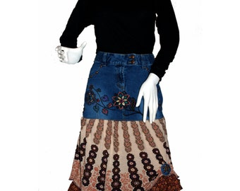 Upcycled Denim Skirt (M) , Altered Jean Skirt, Eco-Friendly Clothing, Boho Jean Skirt