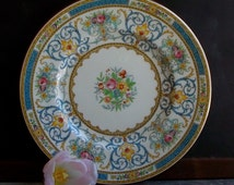 Vintage Minton Enameled Roses Dinner Plate, Hand Painted, England, Pink and Blue Dinnerware, Floral Dish, Cottage Decor