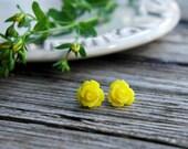 Yellow Stud Earrings . Rose Stud Earrings . Unique Bridesmaid Gifts . Flower Studs . Yellow Earrings . Birthday Gift . Bridesmaid Jewelry