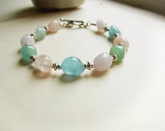 Aquamarine & Multi Beryl Jelly Bean Bracelet // Fair Trade Hill Tribe Silver Toggle Clasp // Silver Spacer Beads // March Birthstone