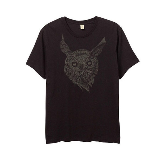 Mens night owl shirt black shirt brown print small for Black brown mens shirts