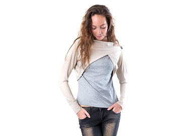 Beige collar shrug with long sleeves, boat neck and exaggerated cropped front /B01/