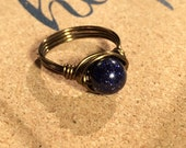 size 6 - Blue Sandstone Ring - wire wrapped - antique brass / gold - handmade - navy - bohemian - hippie - men women natural jewelry
