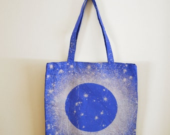 MOON Print Galaxy Bag - Blue Moon Tote - Eclipse - Hand Dyed Bleached Cotton Canvas Tote Bag