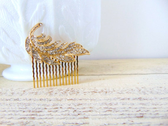 Clear Pave Rhinestone Gold Feather Bridal Hair Comb, Feather Hair Comb, Gold Hair Comb, Rhinestone Feather Comb, feather comb, POET