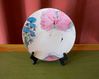 Lilyan Bachrach copper enamel plate dish with floral pinks blues