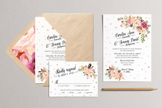 printable wedding invitation set polka dot bohemian wedding, Wedding invitations