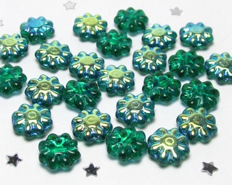 Czech Daisy Flower Bead 9mm, Emerald Green Glass AB Aurora Borealis - 25 beads - Funky Flower Power, Nature, Spring Flower Garden