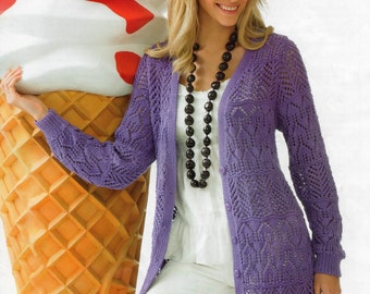 Ladies Knitting Pattern PDF Long Length Cotton Cardigan
