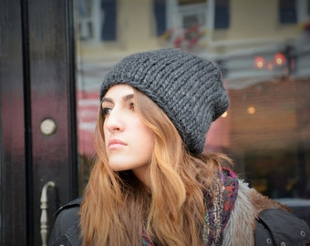Women's Knit Hat / Slouchy Knitted Hat Extra Chunky / Mustard Knit Beanie
