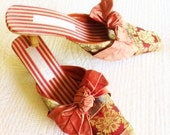 Vintage Romantic Pomegranate and Pewter Satin Brocade Shoes, Olives and Doves