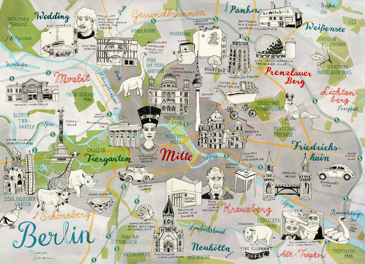 Berlin Map Germany Berlin Print quirky colorful by TheresaGrieben