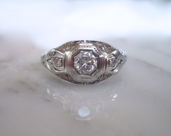 Antique Diamond Ring - 18k White Gold Art Deco Diamond Engagement, Anniversary, Wedding or Right Hand Ring .35 carats. Size 6 3/4 Sizable